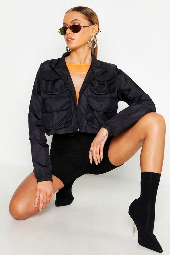 Double Pocket Crop Sports Jacket, Black, FEMMES