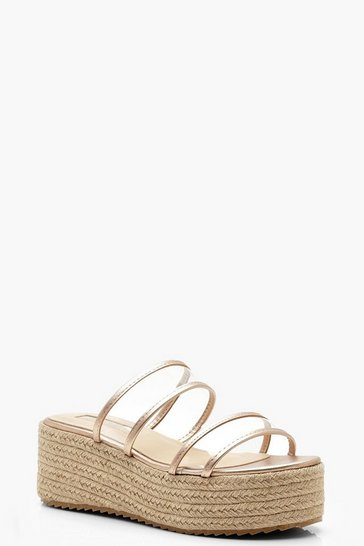 Womens Rose gold Metallic Clear Panel Espadrille Flatforms