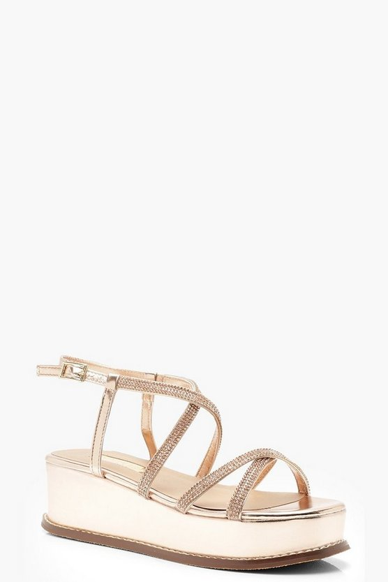 Rose gold Diamante Multi Strap Flatforms