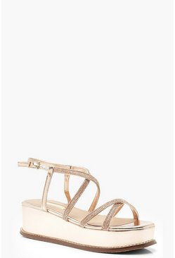 Womens Rose gold Diamante Multi Strap Flatforms