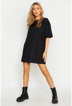 Slinky Oversized T-Shirt Dress, Black