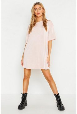 Womens Nude Slinky Oversized T-Shirt Dress