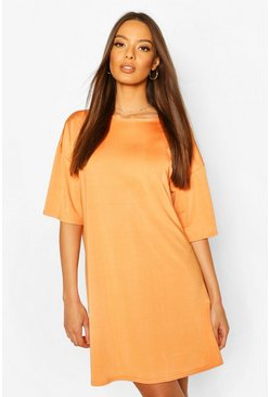 Slinky Oversized T-Shirt Dress, Orange