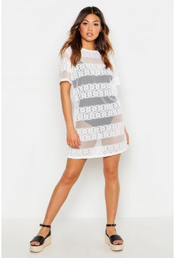 Womens White Crochet Effect Shift Dress