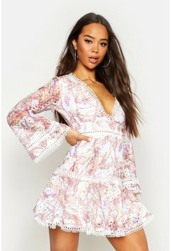 Printed Lace Flared Sleeve Skater Dress, Pink, ЖЕНСКОЕ
