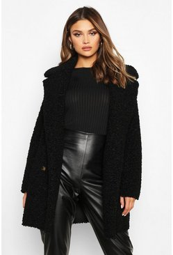 Womens Black Double Breasted Bonded Faux Fur Teddy Coat