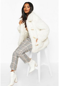 Womens Cream Premium Teddy Faux Fur Belted Longline Coat