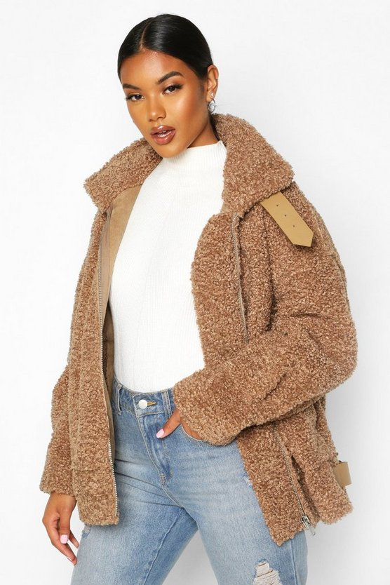 Bonded Faux Fur Teddy Aviator