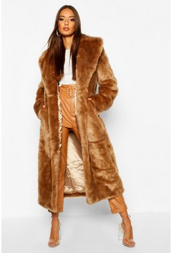 Womens Camel Luxe Faux Fur Longline Coat