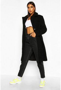 Womens Black Bonded Teddy Faux Fur Longline Coat