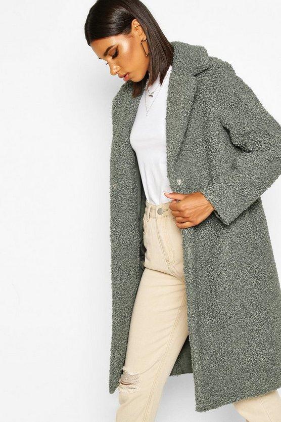 Bonded Teddy Faux Fur Longline Coat