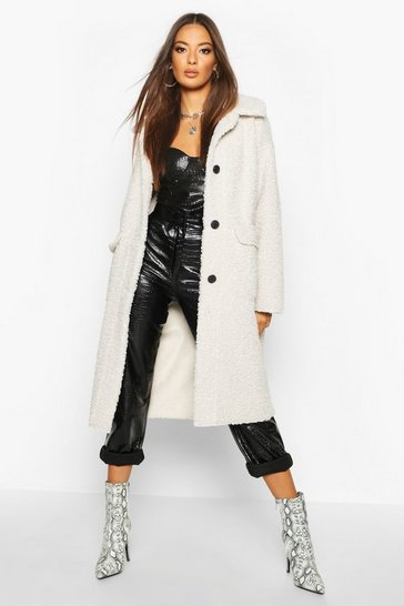 Womens Cream Button Up Faux Fur Bonded Teddy Coat