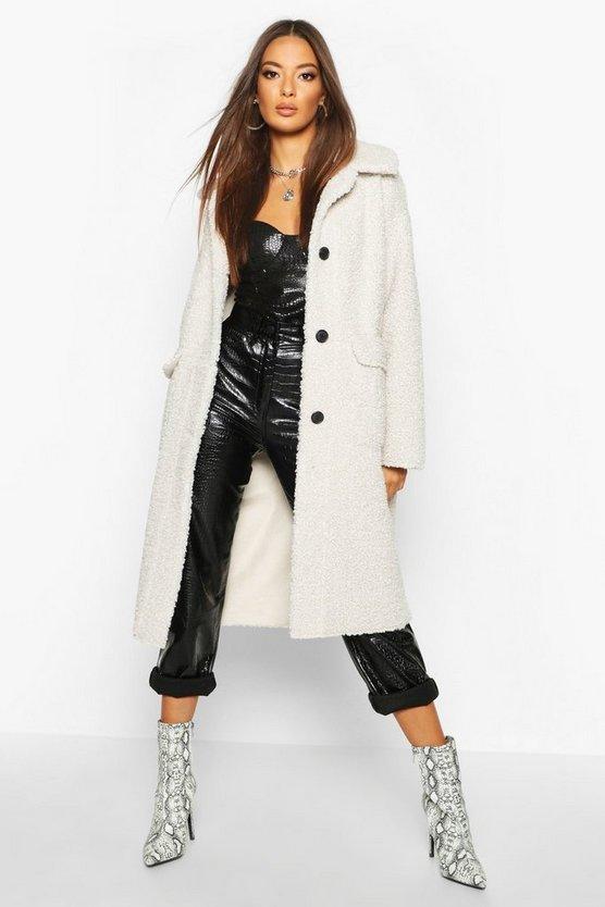 Button Up Faux Fur Bonded Teddy Coat