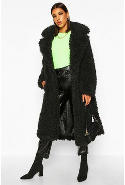 Womens Black Curly Faux Fur Belted Longline Coat