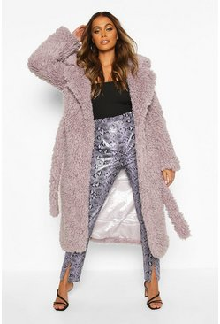 Womens Lilac Curly Faux Fur Belted Longline Coat