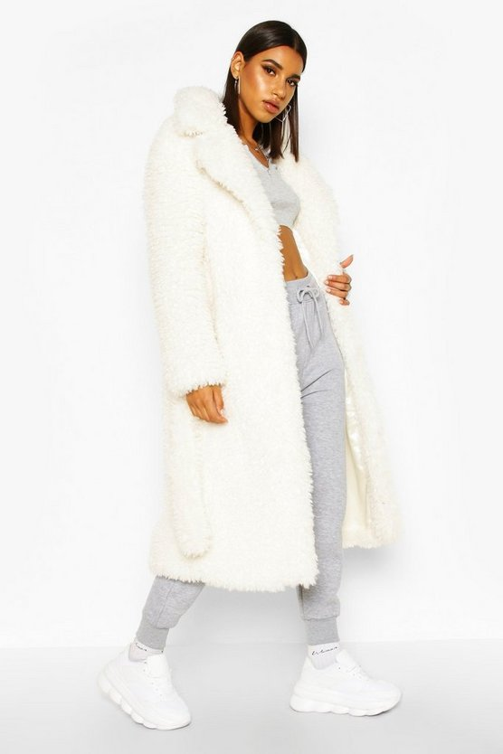 Cream Premium Teddy Faux Fur Belted Longline Coat
