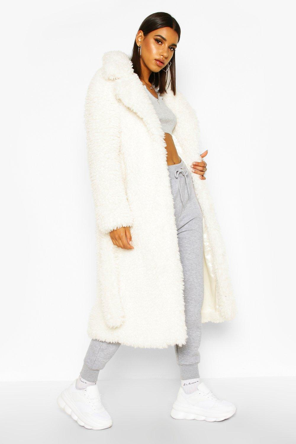 Curly Faux Fur Belted Longline Coat