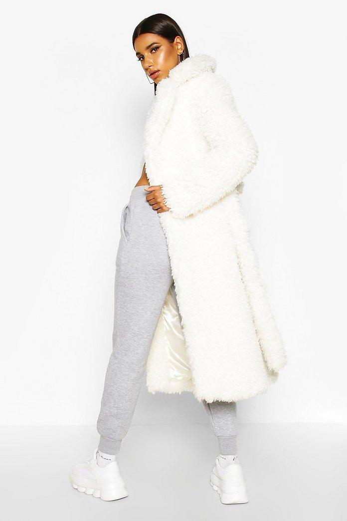 manteau fausse ceintureBoohoo fourrure avec en bouclé Long DYHI9WE2e