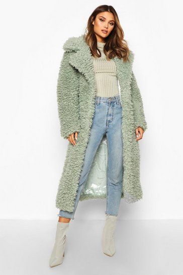 Womens Sage Curly Faux Fur Belted Longline Coat