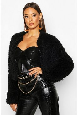 Womens Black Cropped Curly Faux Fur Coat