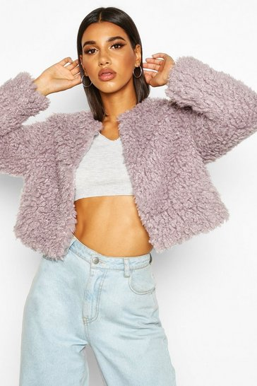 Womens Lilac Cropped Premium Teddy Cropped Faux Fur Coat