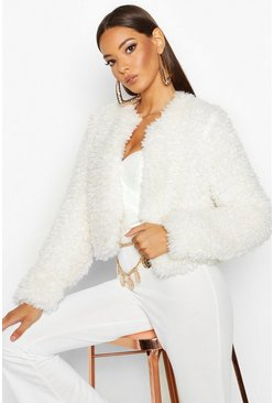 Womens Cream Cropped Premium Teddy Faux Fur Coat