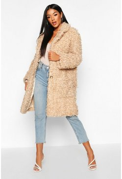 Womens Caramel Premium Teddy Faux Fur Longline Coat
