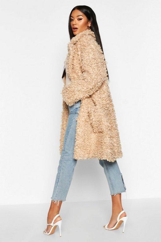 Premium Curly Faux Fur Longline Coat