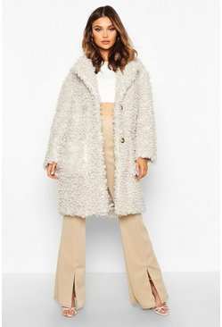 Premium Teddy Faux Fur Longline Coat, Cream, Donna