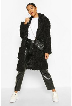 Premium Teddy Faux Fur Longline Coat, Black, Donna