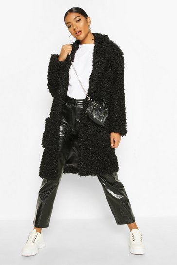 Black Premium Teddy Faux Fur Longline Coat