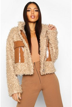 Premium Teddy Cropped Faux Fur Jacket, Caramel