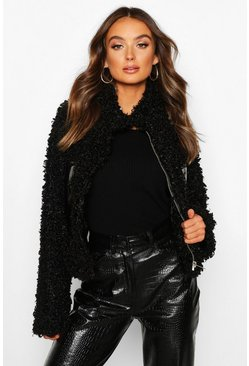 Womens Black Premium Teddy Cropped Faux Fur Jacket