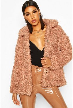 Womens Rose Premium Teddy Button Through Faux Fur Jacket
