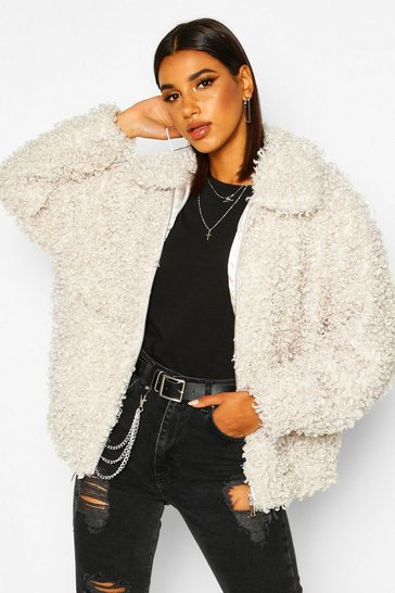 Womens Cream Premium Teddy Faux Fur Oversized Jacket