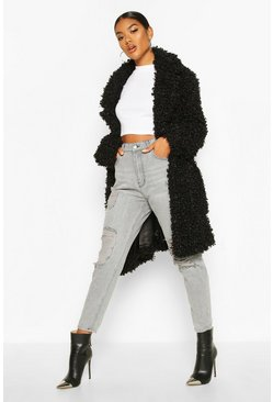 Womens Black Premium Teddy Belted Faux Fur Coat