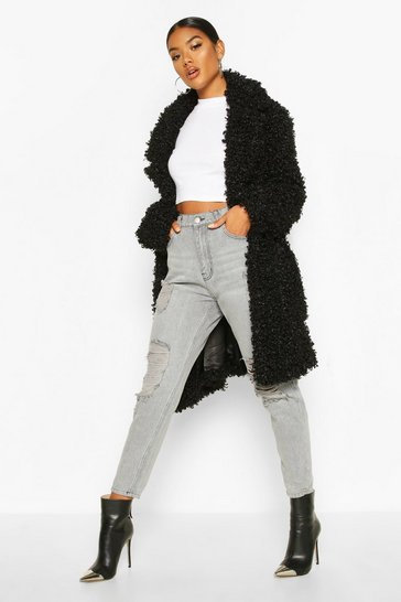 Black Premium Teddy Belted Faux Fur Coat