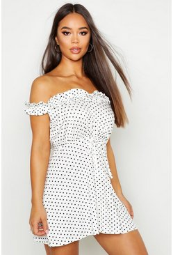 Womens White Spot Ruffle Bardot Tie Waist Mini Dress