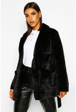 Faux Suede Lined Faux Fur Belted Wrap Coat, Black, Femme