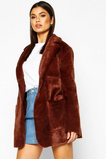 Womens Chocolate Faux Suede Lined Faux Fur Belted Wrap Coat