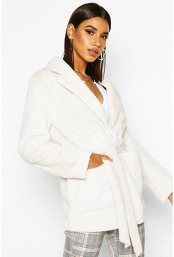 Faux Suede Lined Faux Fur Belted Wrap Coat, Cream, Femme