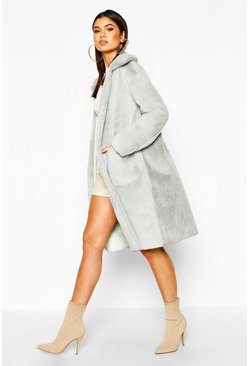 Womens Sage Faux Suede Lined Button Through Faux Fur Coat