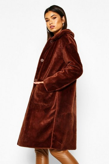 Womens Chocolate Faux Suede Lined Button Through Faux Fur Coat