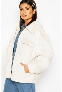 Faux Suede Lined Faux Fur Trucker, Cream, Femme