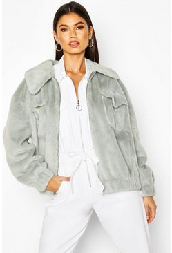 Womens Sage Faux Suede Lined Faux Fur Trucker Jacket