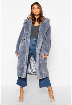 Oversized Teddy Faux Fur Coat, Airforce blue, Femme