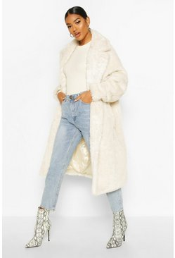Oversized Teddy Faux Fur Coat, Cream, Donna