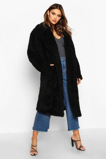 Womens Black Oversized Teddy Faux Fur Coat