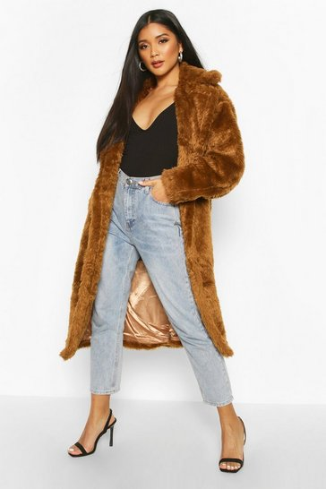 Womens Tobacco Oversized Teddy Faux Fur Coat