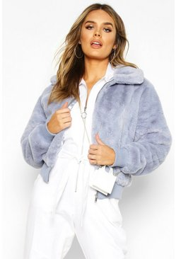Womens Denim-blue Collared Faux Fur Bomber Jacket